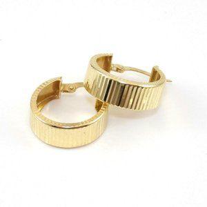 14K Yellow Gold Ribbed Hoop Earrings